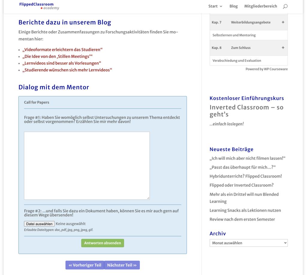 Screenshot: Dialog mit dem Mentor – Frage beantworten und Möglichkeit zum Datei-Upload